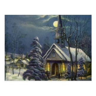 Navidad del vintage, iglesia en invierno de la postales