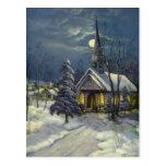 Navidad del vintage, iglesia en invierno de la postal