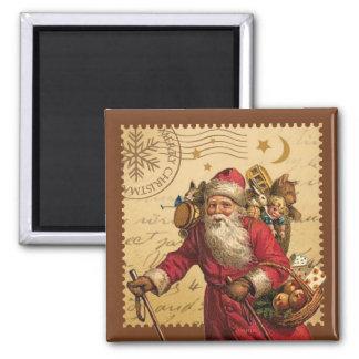 Navidad del vintage imán cuadrado