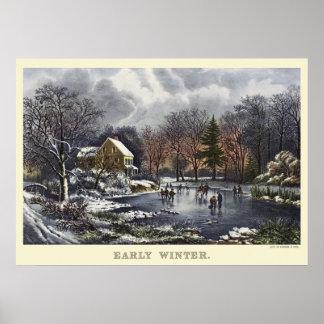 Navidad del vintage, invierno temprano con los póster