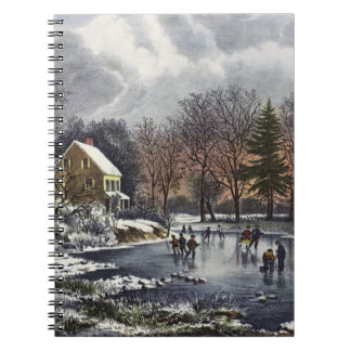 Navidad del vintage, invierno temprano, libreta espiral
