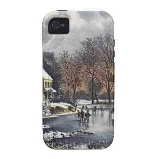 Navidad del vintage, invierno temprano, iPhone 4 fundas