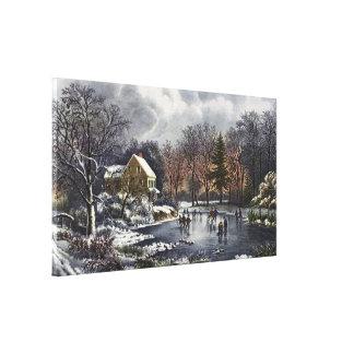 Navidad del vintage, invierno temprano, impresión en lona