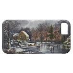 Navidad del vintage, invierno temprano, patinadore iPhone 5 carcasas