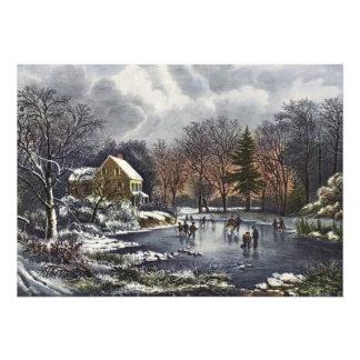 Navidad del vintage invierno temprano patinadore invitacion personal