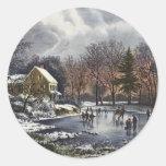 Navidad del vintage, invierno temprano, patinadore etiquetas redondas