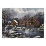 Navidad del vintage, invierno temprano, patinadore felicitaciones