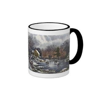 Navidad del vintage invierno temprano patinadore tazas de café