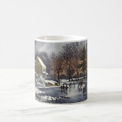Navidad del vintage, invierno temprano, patinadore taza de café