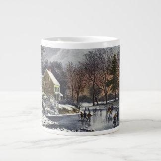 Navidad del vintage invierno temprano patinadore taza jumbo