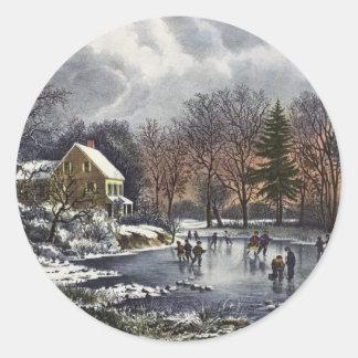 Navidad del vintage, invierno temprano, pegatina redonda
