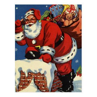 Navidad del vintage, juguetes de la chimenea de Pa Postales