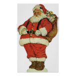 Navidad del vintage, juguetes de Papá Noel del Vic Poster
