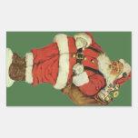 Navidad del vintage, juguetes de Papá Noel del Vic Pegatina