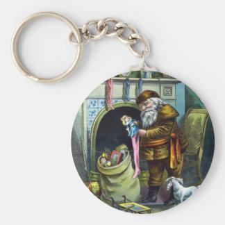 Navidad del vintage, juguetes de Papá Noel y Llavero Redondo Tipo Pin