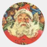 Navidad del vintage, juguetes del trineo del vuelo pegatina redonda