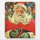 Navidad del vintage, juguetes del trineo del vuelo alfombrillas de raton