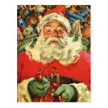 Navidad del vintage, juguetes del trineo del vuelo tarjeta postal