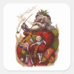 Navidad del vintage, juguetes del tubo de Papá Noe Colcomanias Cuadradas Personalizadas