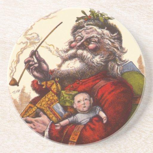 Navidad del vintage, juguetes del tubo de Papá Posavasos Para Bebidas