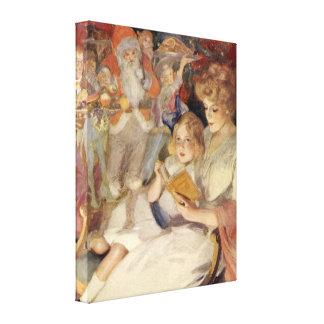 Navidad del vintage, leyendo cuentos impresión en lona