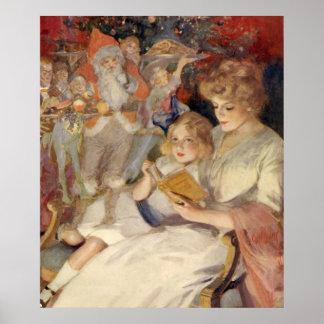 Navidad del vintage, leyendo cuentos impresiones