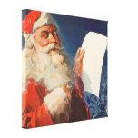Navidad del vintage, lista traviesa de Papá Noel Impresión En Lona Estirada