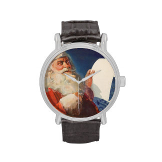 Navidad del vintage, lista traviesa de Papá Noel Reloj