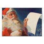 Navidad del vintage, lista traviesa de Papá Noel Felicitaciones