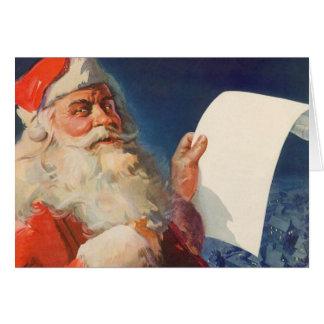 Navidad del vintage, lista traviesa de Papá Noel Tarjeta De Felicitación