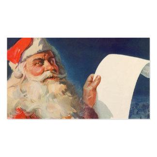 Navidad del vintage, lista traviesa de Papá Noel Tarjetas De Visita