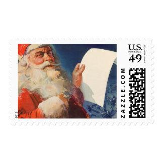 Navidad del vintage, lista traviesa de Papá Noel Timbres Postales