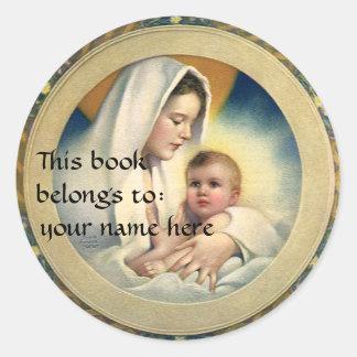 Navidad del vintage, Madonna y Bookplate del niño Etiquetas Redondas