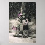 Navidad del vintage, mejores amigos en los esquís