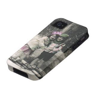 Navidad del vintage mejores amigos en los esquís Case-Mate iPhone 4 fundas