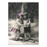 Navidad del vintage, mejores amigos en los esquís invitación 12,7 x 17,8 cm