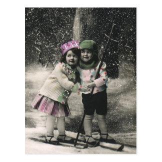 Navidad del vintage mejores amigos en los esquís postales