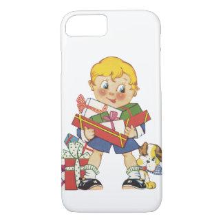 Navidad del vintage, muchacho con los presentes y funda iPhone 7