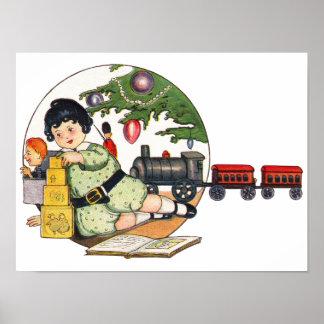 Navidad del vintage, muchacho feliz que juega con póster