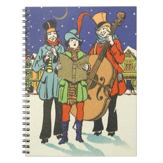 Navidad del vintage, músicos Caroling con música Libros De Apuntes