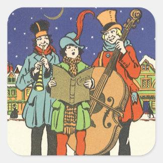 Navidad del vintage, músicos Caroling con música Pegatina Cuadrada