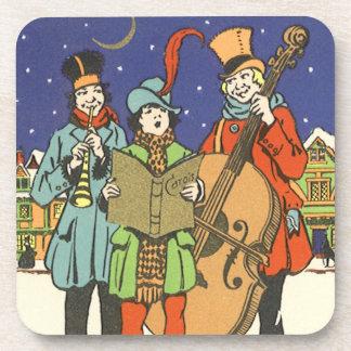 Navidad del vintage, músicos Caroling con música Posavasos De Bebida