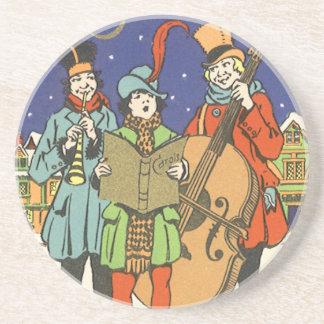 Navidad del vintage, músicos Caroling con música Posavasos Personalizados
