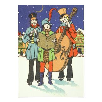 Navidad del vintage, músicos Caroling Invitación 12,7 X 17,8 Cm