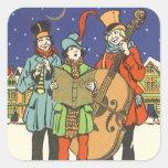 Navidad del vintage, músicos Caroling Calcomania Cuadrada Personalizada