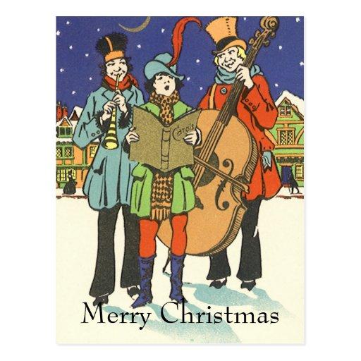 Navidad del vintage, músicos Caroling Tarjeta Postal