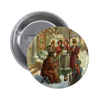 Navidad del vintage, músicos del Victorian Pin Redondo 5 Cm