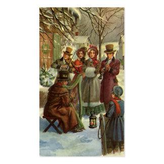Navidad del vintage, músicos del Victorian Tarjetas De Visita