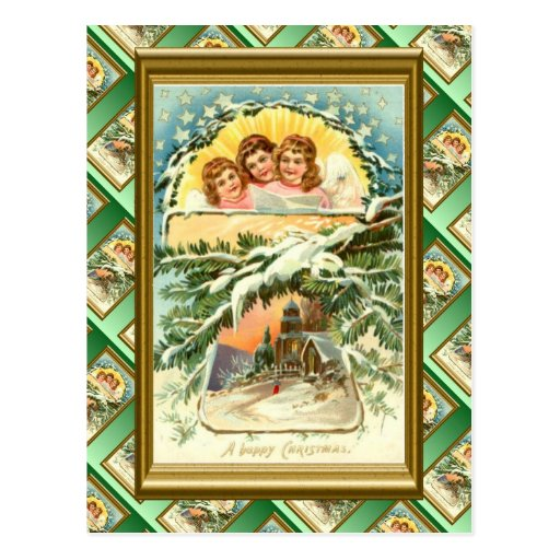 Navidad del vintage, nieve, iglesia y coro 1 tarjeta postal