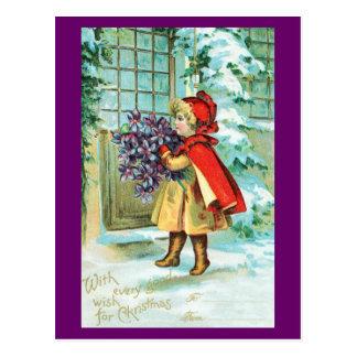 Navidad del vintage - niña con las violetas tarjeta postal